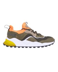 """Sneaker voile blanche """"club 04"""" in camoscio e tessuto Militare"""