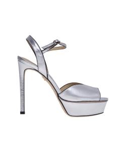 Sandalo lola cruz in pelle laminata e tacco 120 mm  Argento