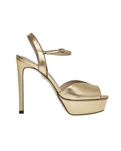 Sandalo lola cruz in pelle laminata e tacco 120 mm  Oro