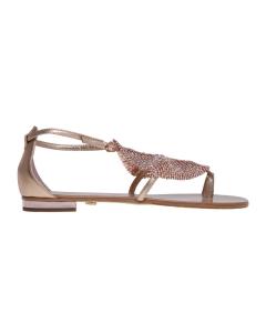 Sandalo lola cruz in pelle con maglia rombo con strass Cipria