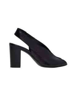 Sandalo le mare' in pelle lucida stampa rettile e tacco 80 mm  Nero