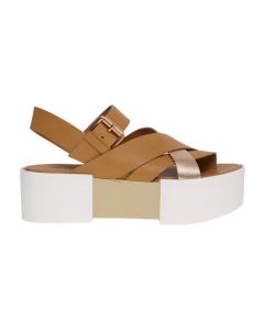 Sandalo incrociato vic matie' con maxi platform  Cuoio