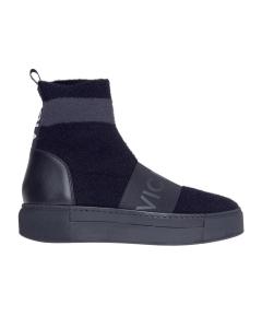 Sneaker vic matie' in tessuto elasticizzato effetto calza Nero