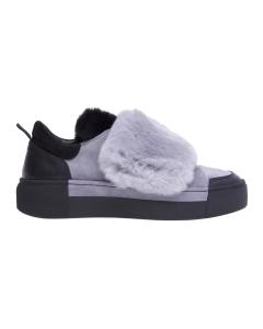 Sneaker vic matie in camoscio con pelliccia Grigio