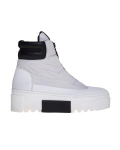 Sneaker/polacco in tessuto tecnico con zip logata  Bianco