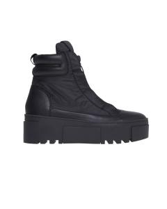 Sneaker/polacco in tessuto tecnico con zip logata  Nero