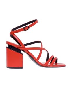 Sandalo Vic Matiè in pelle con tacco effetto sospeso  Corallo