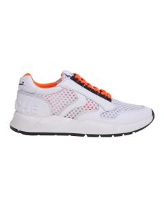 Sneaker in tessuto retinato con lettering voile blanche  Bianco - Arancio Fluo