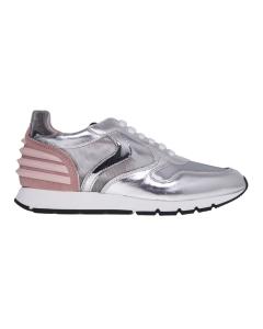 Sneaker running voile blanche in pelle laminata e camoscio Argento - Rosa