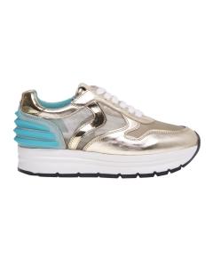 Sneaker voile blanche maxi platform in pelle e tessuto  Platino - Turchese