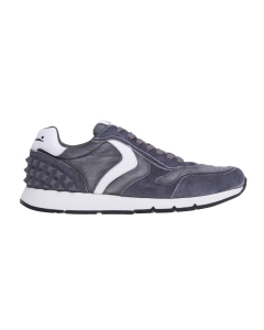 """Sneaker Voile Blanche """"Reubent Studs"""" in camoscio e tessuto Grigio - Bianco"""