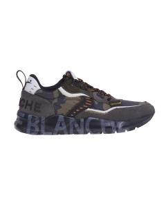 """Sneaker Voile Blanche """"Club 01"""" in tessuto camuflage e camoscio  Antracite - Camufl."""