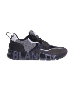 """Sneaker Voile Blanche """"Club 01"""" in tessuto tecnico e camoscio  Grigio - Nero"""