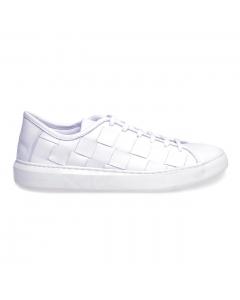 Sneaker Pawelk's in pelle con maxi intreccio  Bianco