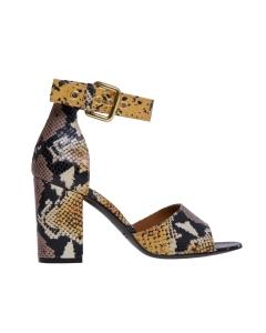 Sandalo via roma 15 in pelle stampa pitone con tacco 90 mm Giallo