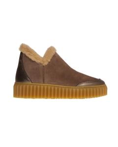 Sneaker voile blanche in camoscio e pelle laminata con ecopelliccia Bronzo - Taupe