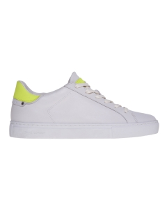 Sneaker crime london in pelle con talloncino fluo Bianco