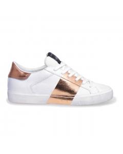 Sneaker Crime London in pelle con fascia laminata  Bianco
