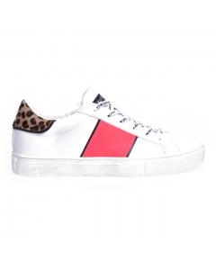 Sneaker Crime London in pelle con fascia fuxia e talloncino leopardato Bianco