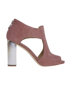 Sandalo michael kors in camoscio con tacco effetto metallo 100 mm Cipria