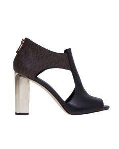 Sandalo michael kors in pelle con tacco effetto metallo 100 mm Nero
