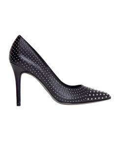 "Decollete' michael kors ""claire pump"" in pelle con borchie e tacco 100mm Nero"