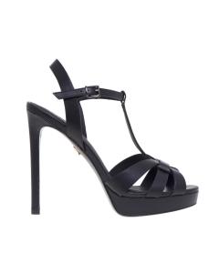 Sandalo Lola Cruz in pelle con fasce incrociate e tacco 120 mm  Nero