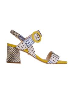 Sandalo carmens in camoscio e tessuto tecnico multicolor Giallo