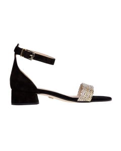 Sandalo carmens in camoscio e tessuto  Nero