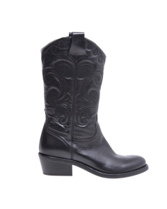 Texano fru.it in pelle con ricami  Nero
