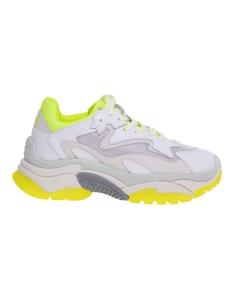 Sneaker ash addict in pelle e tessuto bianco e dettagli giallo fluo Bianco