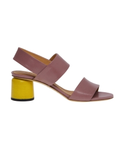 Sandalo halmanera in pelle con tacco scultura giallo 50 mm  Cipria