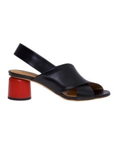 Sandalo halmanera in pelle nera con fasce incrociate e tacco rosso 50 mm Nero