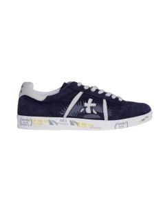 Sneaker premiata in pelle bianca  Blu