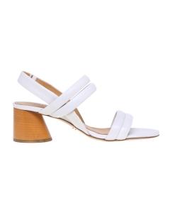 Sandalo Halmanera in pelle con tacco 50 mm  Bianco