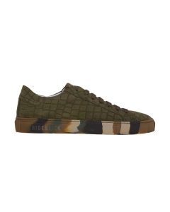 Sneaker hide & jack in nabuck stampa cocco e suola camuflage Verde Mil.