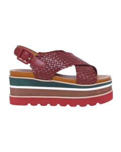 Sandalo in pelle intrecciata con maxi platform  Bordeaux