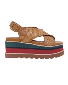 Sandalo in pelle intrecciata con maxi platform  Cuoio