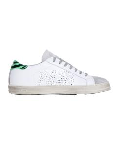Sneaker p448 in pelle e camoscio con talloncino zebrato. Blu/ver