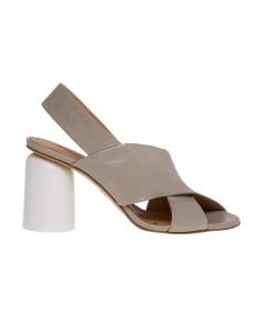 Sandalo halmanera in pelle con tacco scultura bianco 90 mm  Tortora