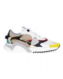 Sneaker Philippe Eze Model Mondial Pop in pelle e tessuto Bianco-oro