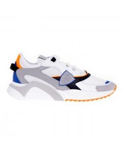 Sneaker Philippe Eze Model Mondial Neon in pelle e tessuto Bianco