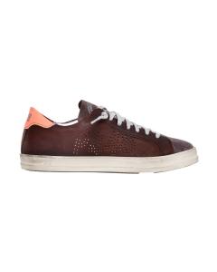 Sneaker p448 in pelle ingrassata e camoscio con talloncino a contrasto Marrone