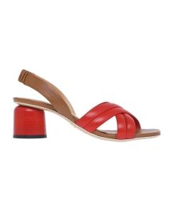 Sandalo Halmanera in pelle con tacco 50 mm  Cuoio - Rosso