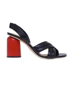 Sandalo Halmanera in pelle con tacco 80 mm  Nero