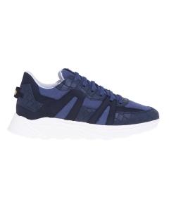 Sneaker hide & jack in pelle stampa cocco e canvas Blu