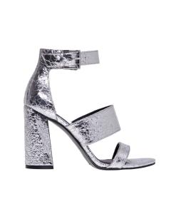 Sandalo kendall+kylie in ecopelle laminata argento Argento