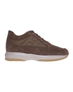 """Sneaker hogan """"interactive"""" in camoscio e tessuto  Marrone"""