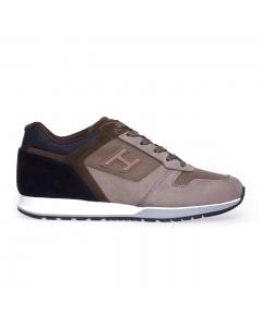 Sneakers Hogan H321 in nabuk e tessuto Taupe