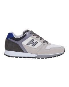 Sneaker hogan h321 in camoscio e tessuto  Bianco - Grigio
